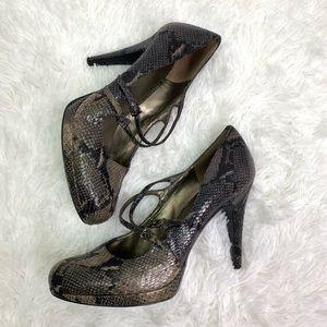 Nine West Mary Jane high heels snakeskin size 10